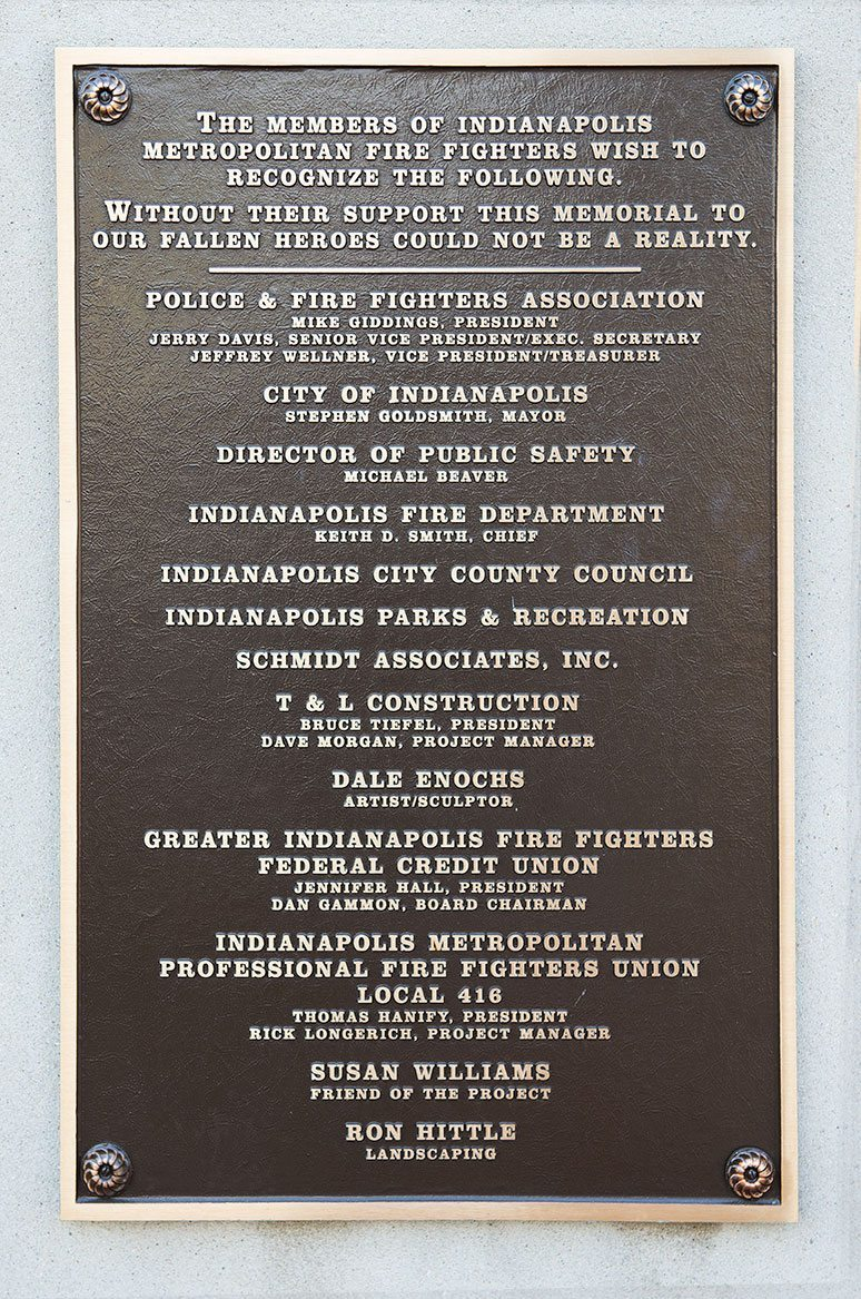 List of some of the those who helped realize Memorial Plaza
