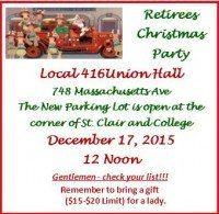 Retiree Christmas Party Venue Change